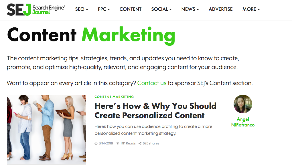 Search Engine Journal Content marketing blog