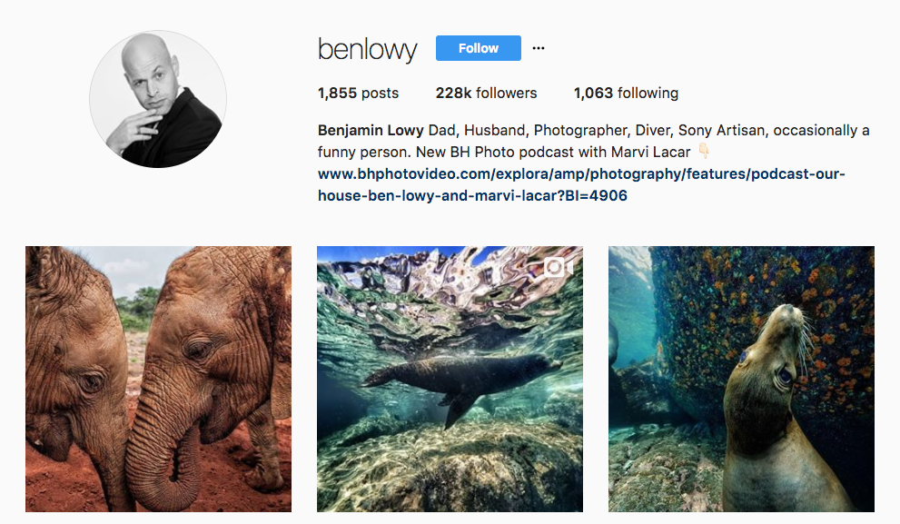 top photography influencer Benjamin Lowly