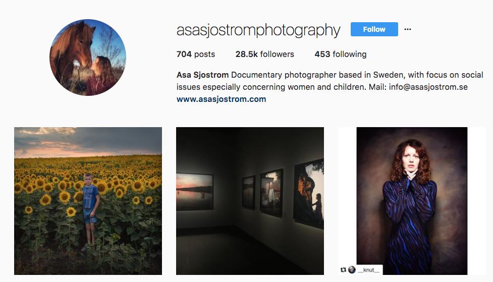 top photography influencer Asa Sjostrom