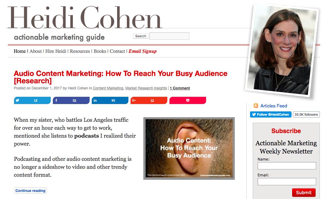Heidi Cohen Top Blog Content Writer