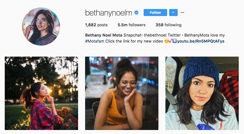 Bethany Mota Top Millennial Influencer