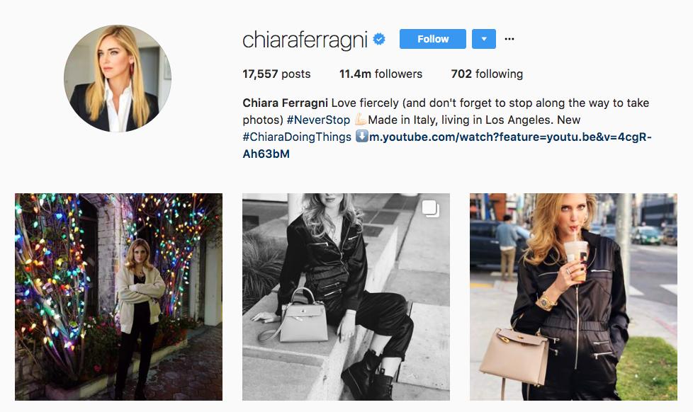 Chiara Ferragni Top Millennial Influencer