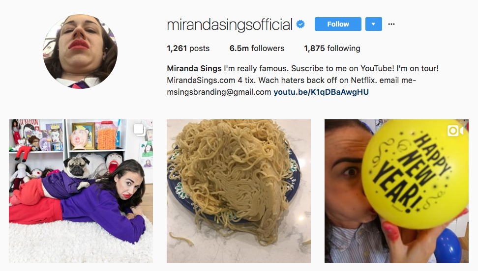 Miranda Sings Top Millennial Influencer