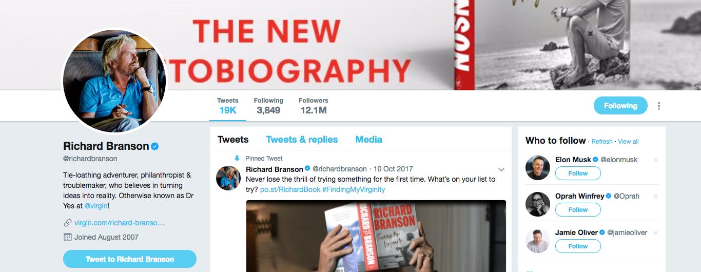 Richard Branson Top startup influencer