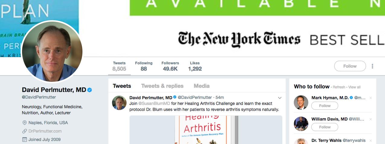 David Perlmutter top healthcare influencer