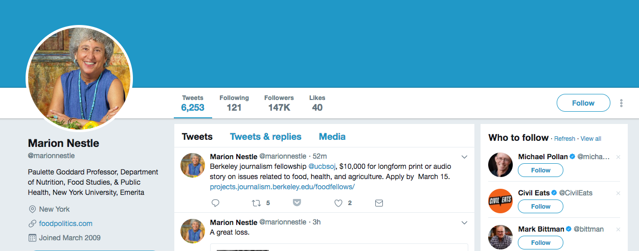 Marion Nestle top healthcare influencer