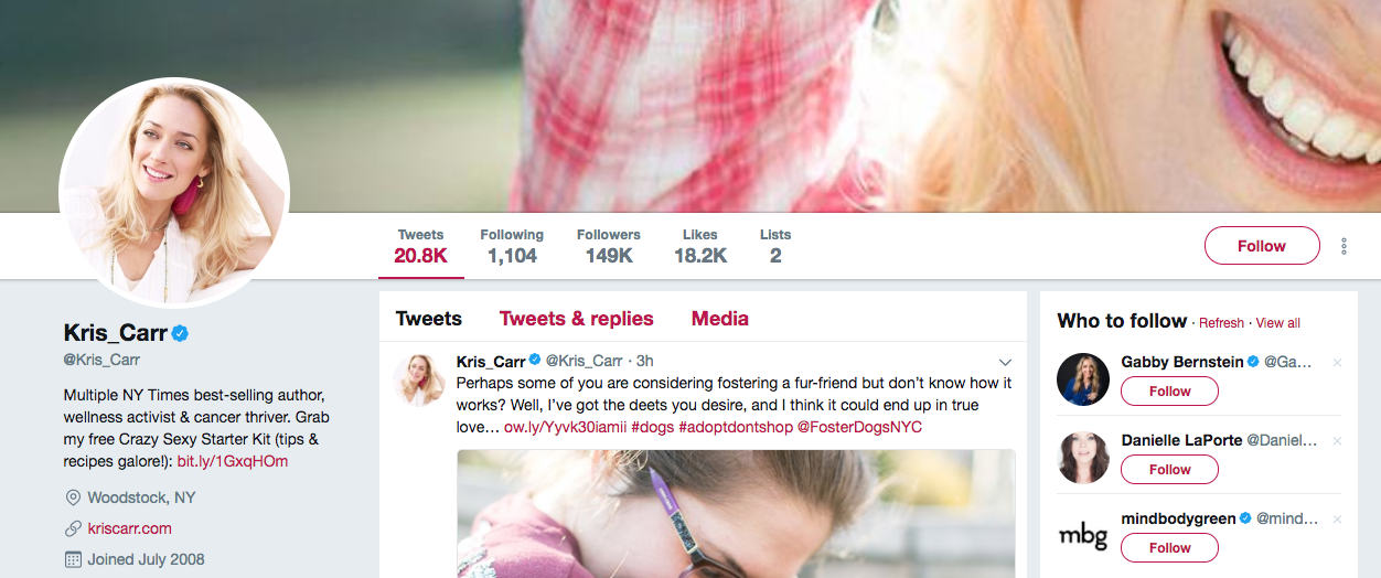 Kris Carr top healthcare influencers