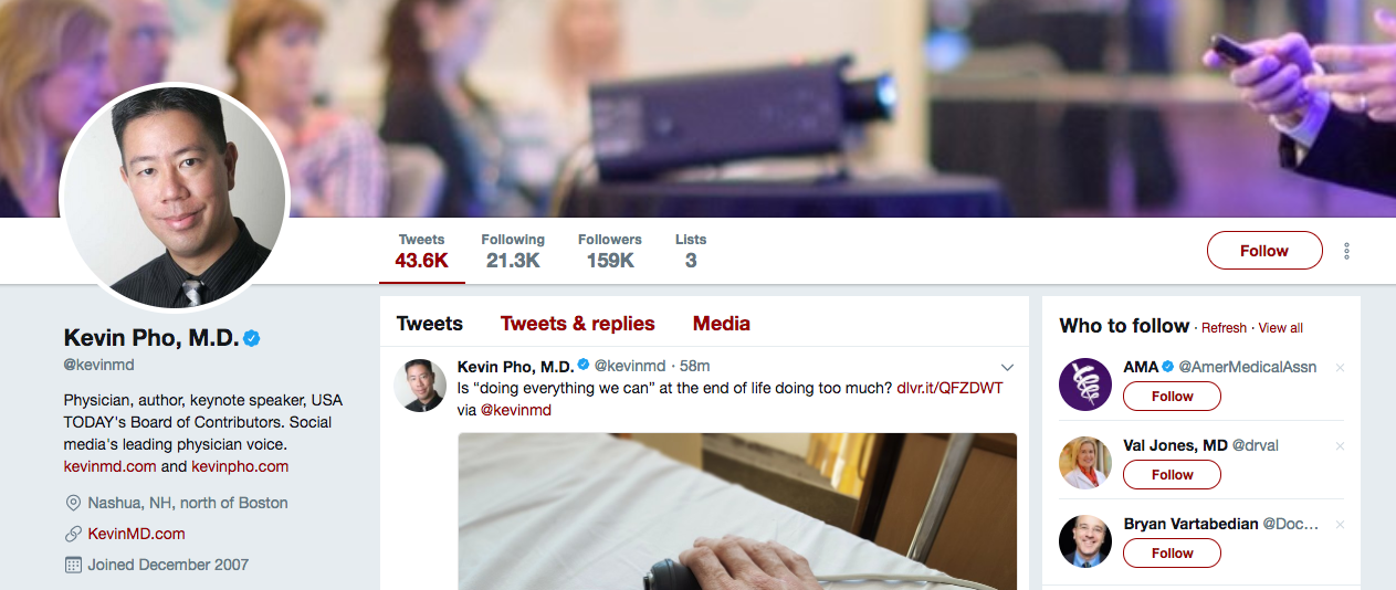 Kevin Pho Top Healthcare Influencer