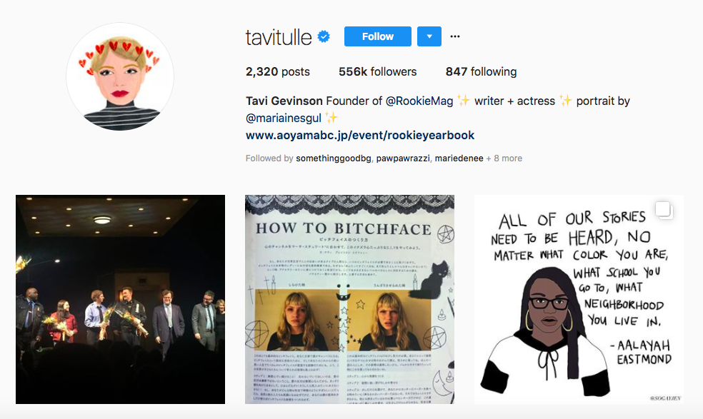Tavi Gevinson Top Female Social Media Influencer
