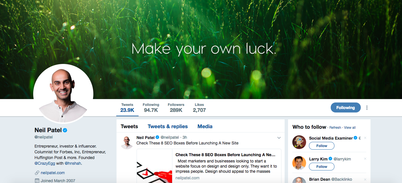 Neil Patel Top Digital Media Influencers