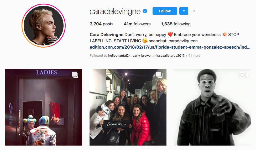 Cara Delevingne top instagram brand influencers