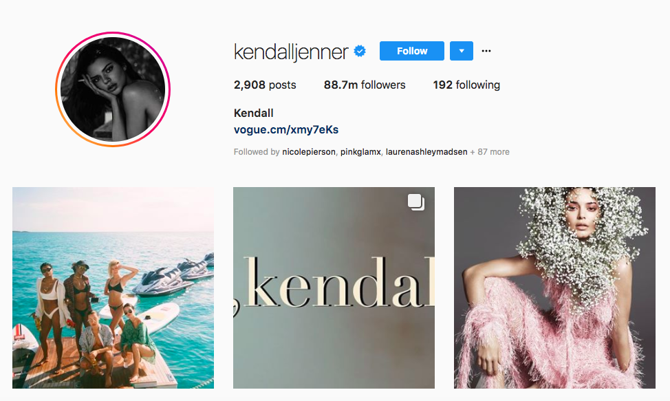 Kendall Jenner Instagram Brand Influencers