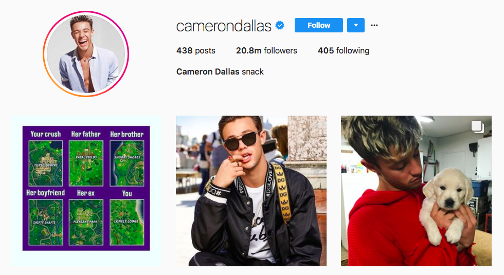Cameron Dallas best influencers 2017