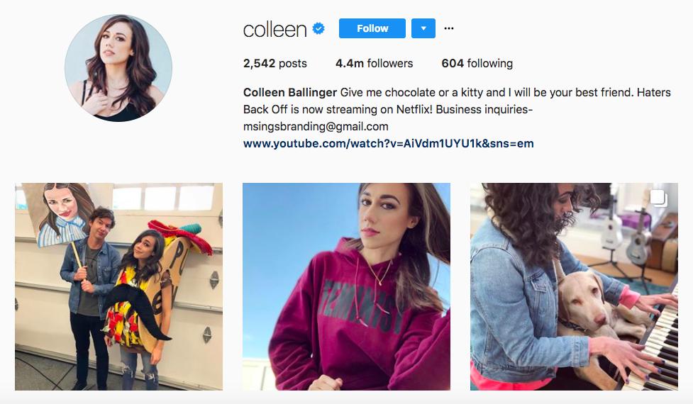 Colleen Ballinger best influencers 2017