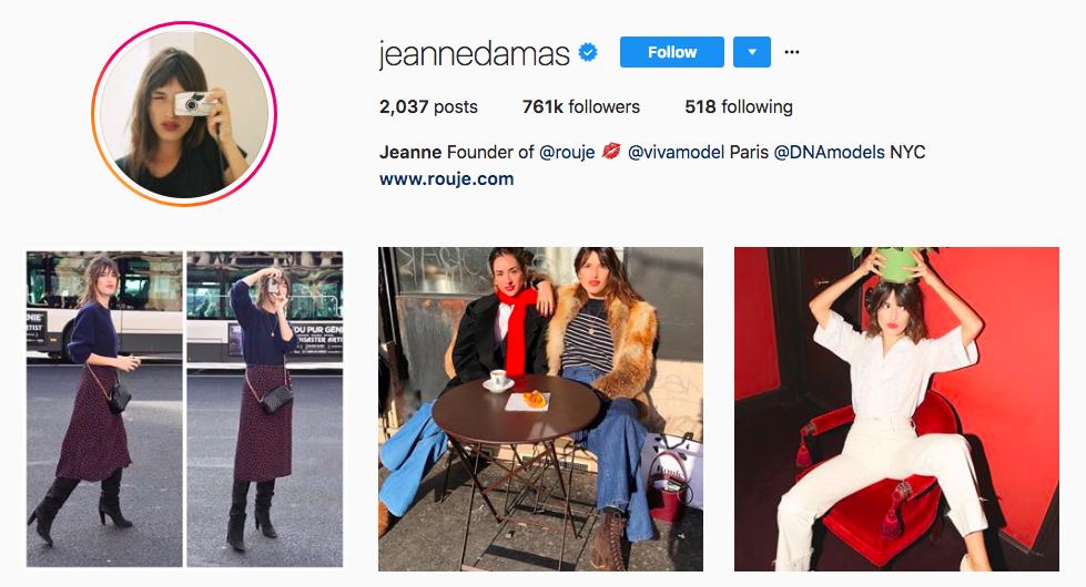 Jeanne Damas top fashion Instagram Influencer
