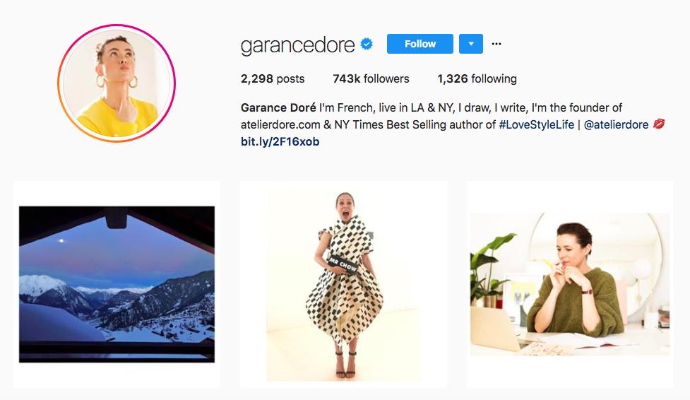 Garance Doré top fashion Instagram influencer