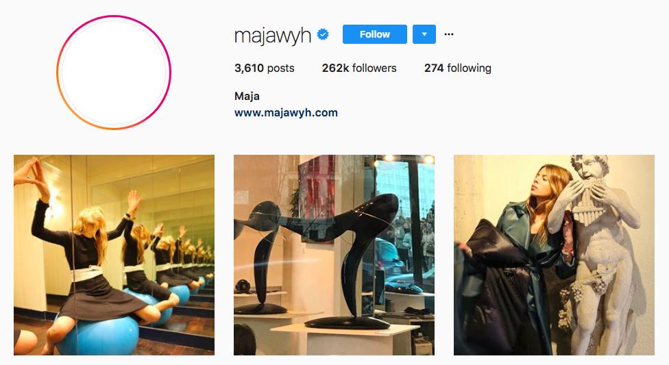 Maja Wyh top fashion Instagram influencer