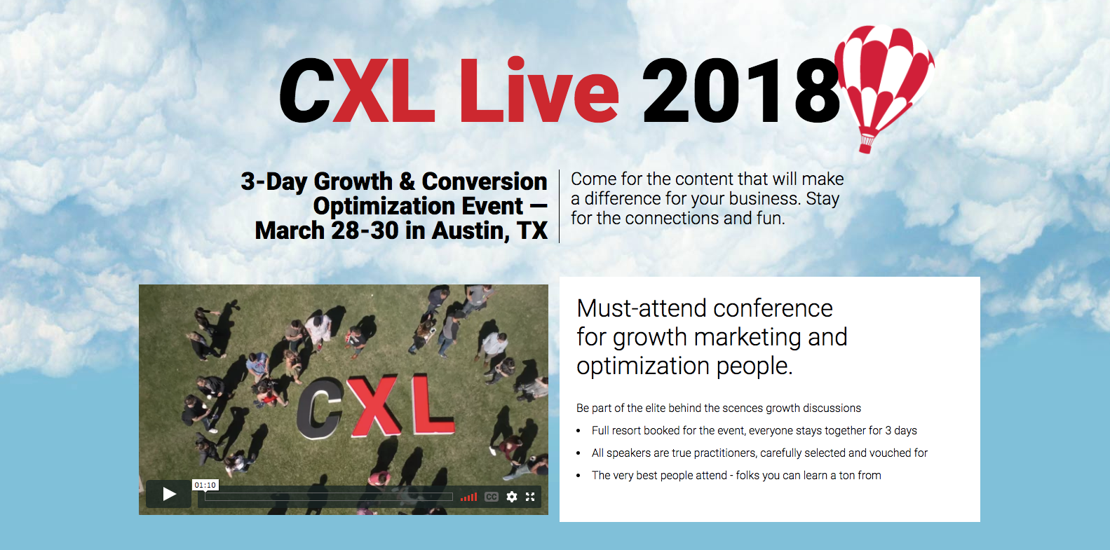 CXL Live 2018 Marketing Conferences