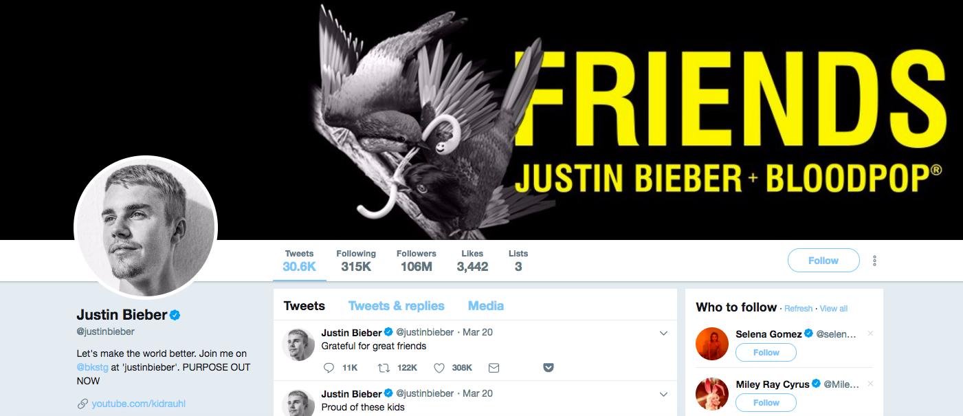 Justin Bieber Top Male Social Media Influencers