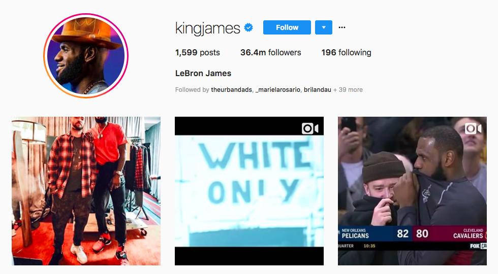 LeBron James top male social media influencers