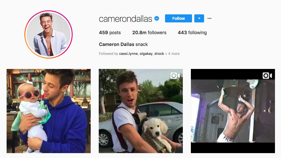 Cameron Dallas top male social media influencers