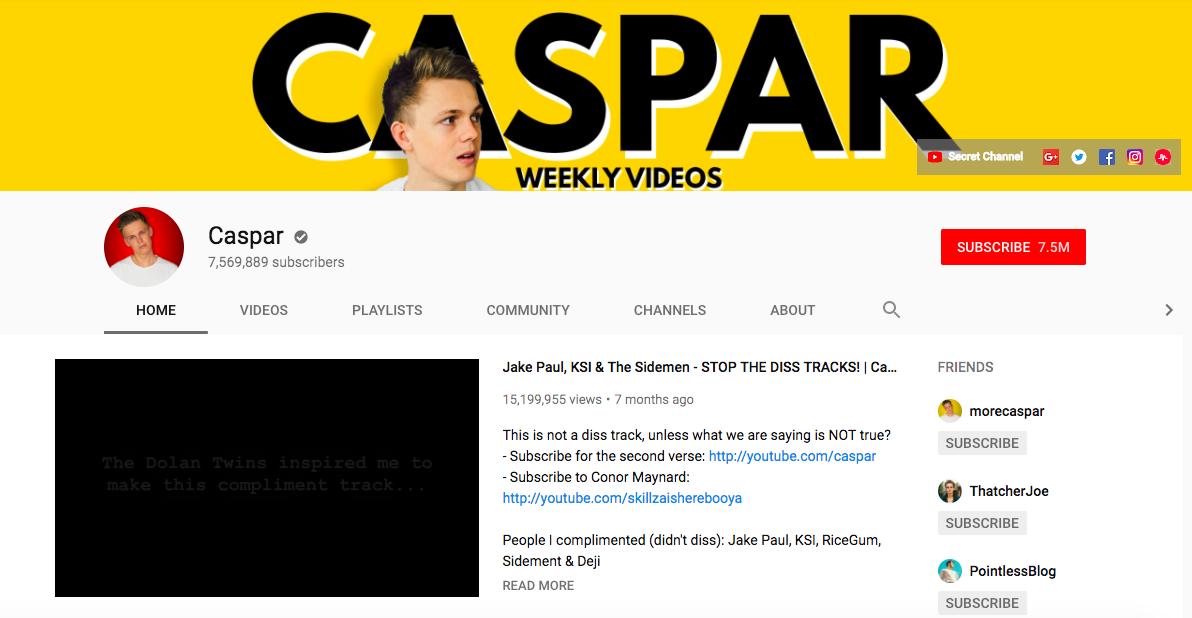 Caspar Top Entertainment Influencers