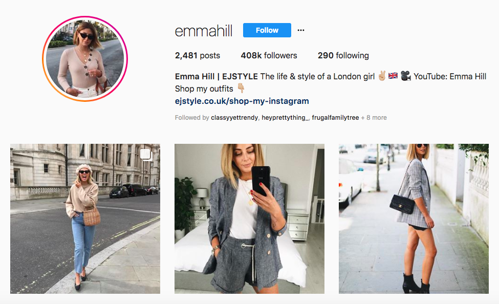 Emma Hill top UK Influencers