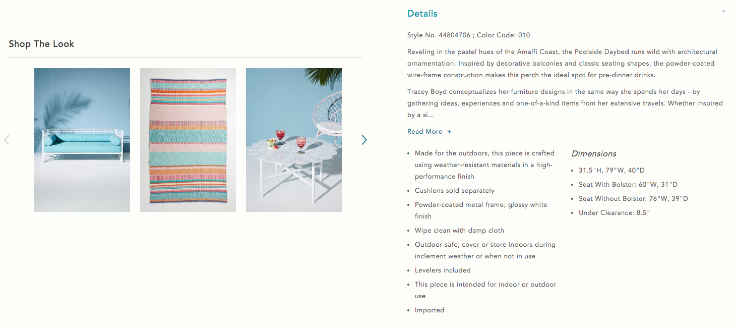 Anthropologie Ecommerce Product Description