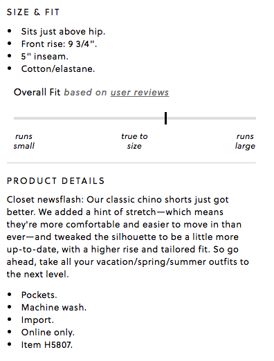 J Crew Ecommerce Product Description
