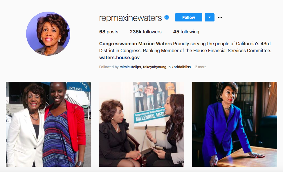 Congresswoman Maxine Waters Top African American Influencers