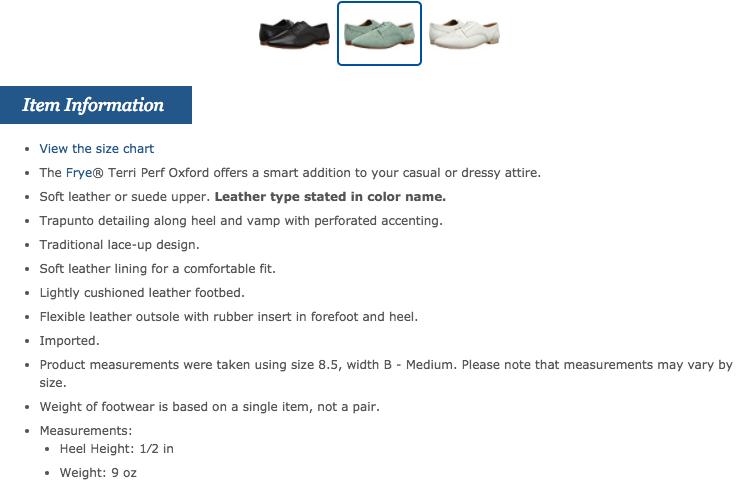 Zappos SEO Product Description