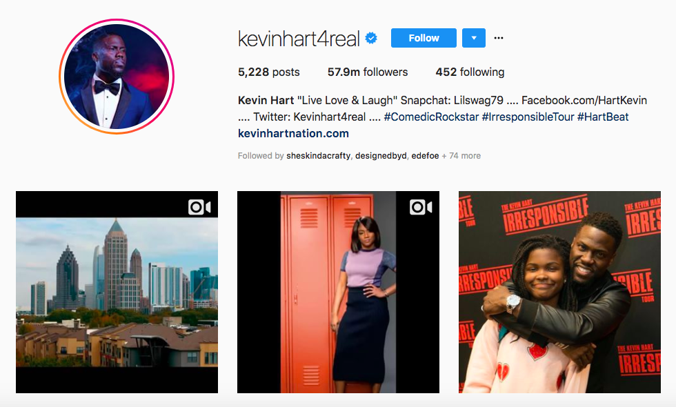 Kevin Hart top male social media influencers
