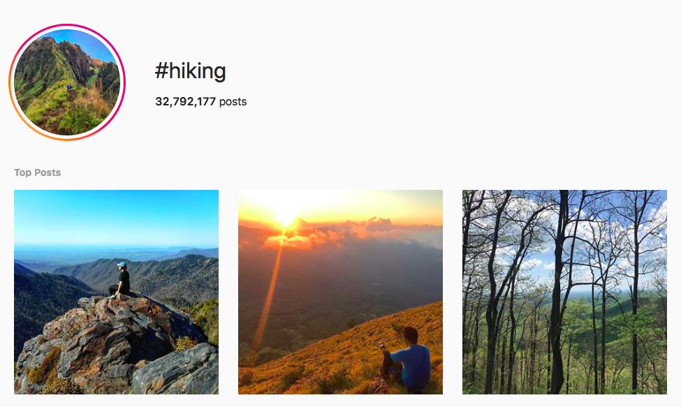 best outdoor instagram hashtags #hiking