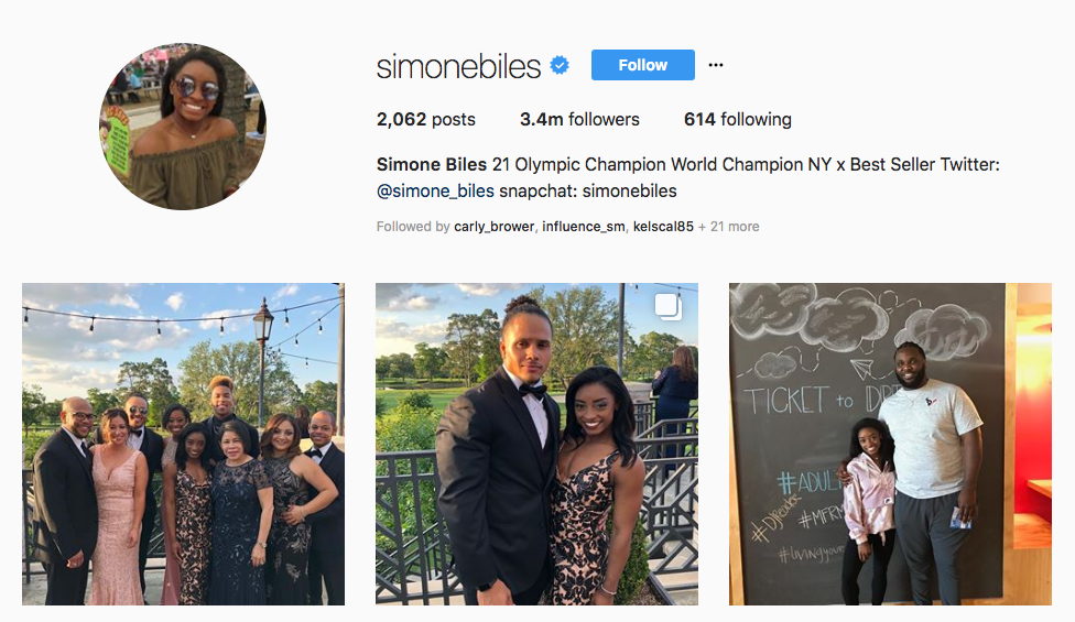 Simone Biles top sports influencers