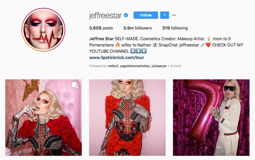 Jeffree Star Top Beauty Vloggers