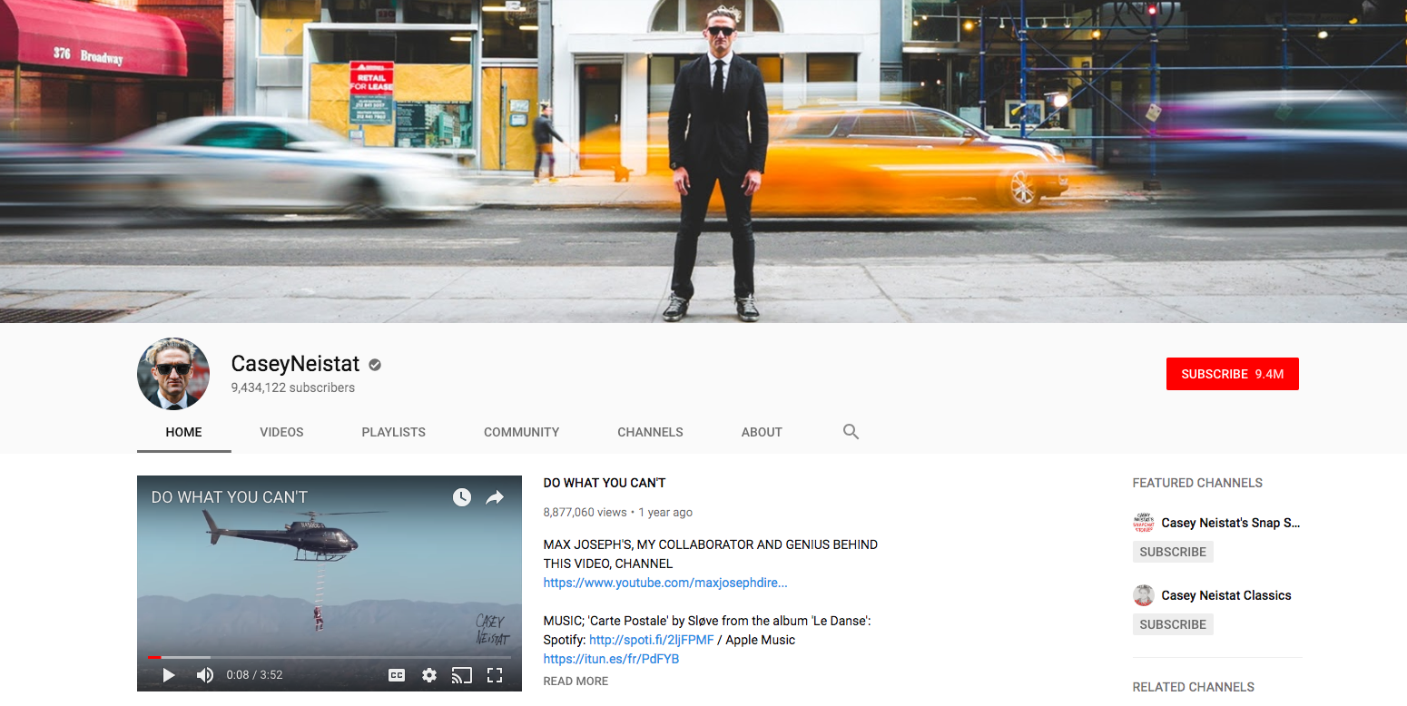 Casey Neistat top Daily YouTube Vloggers