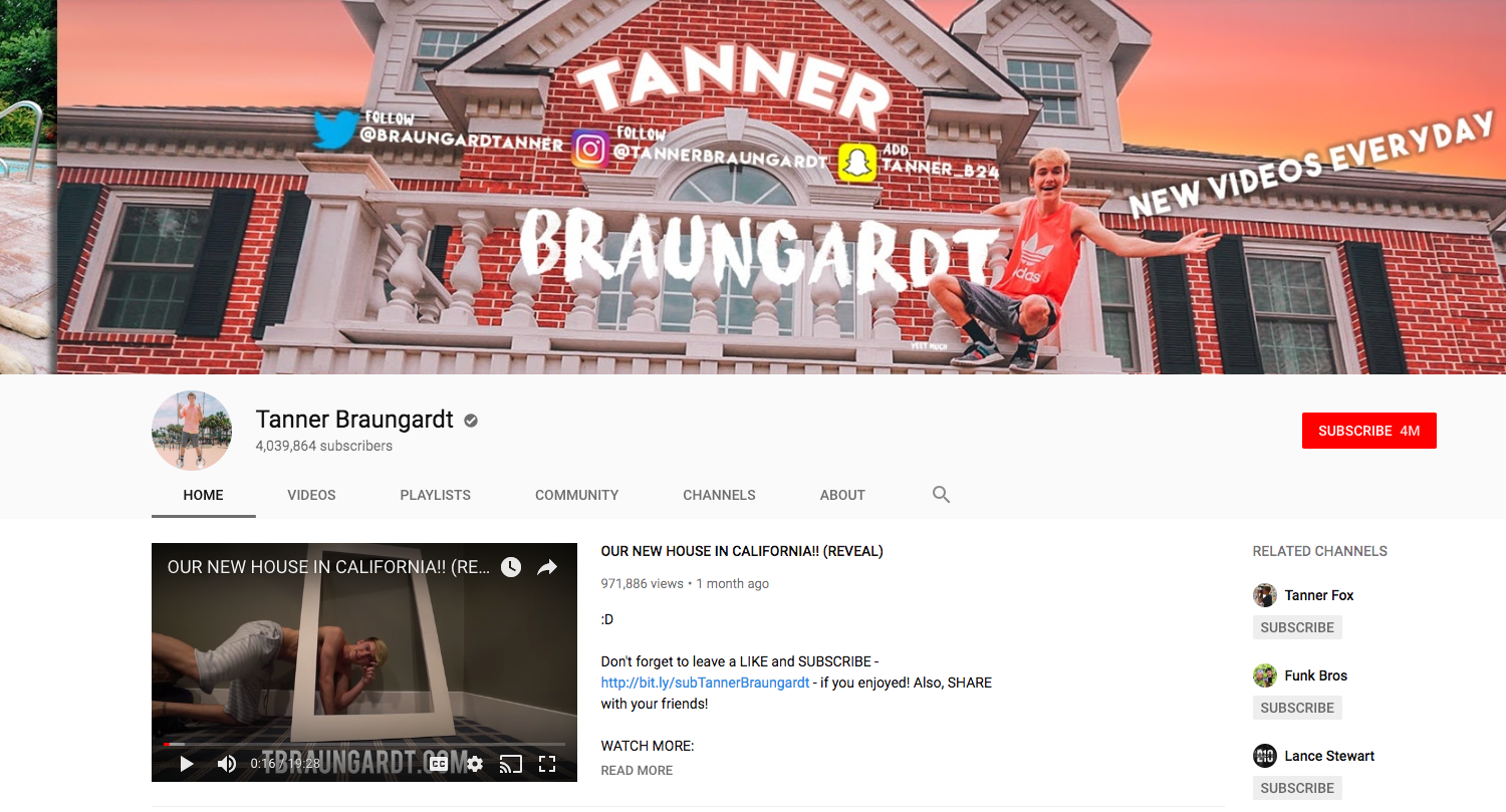 Tanner Braungardt top daily youtube vloggers
