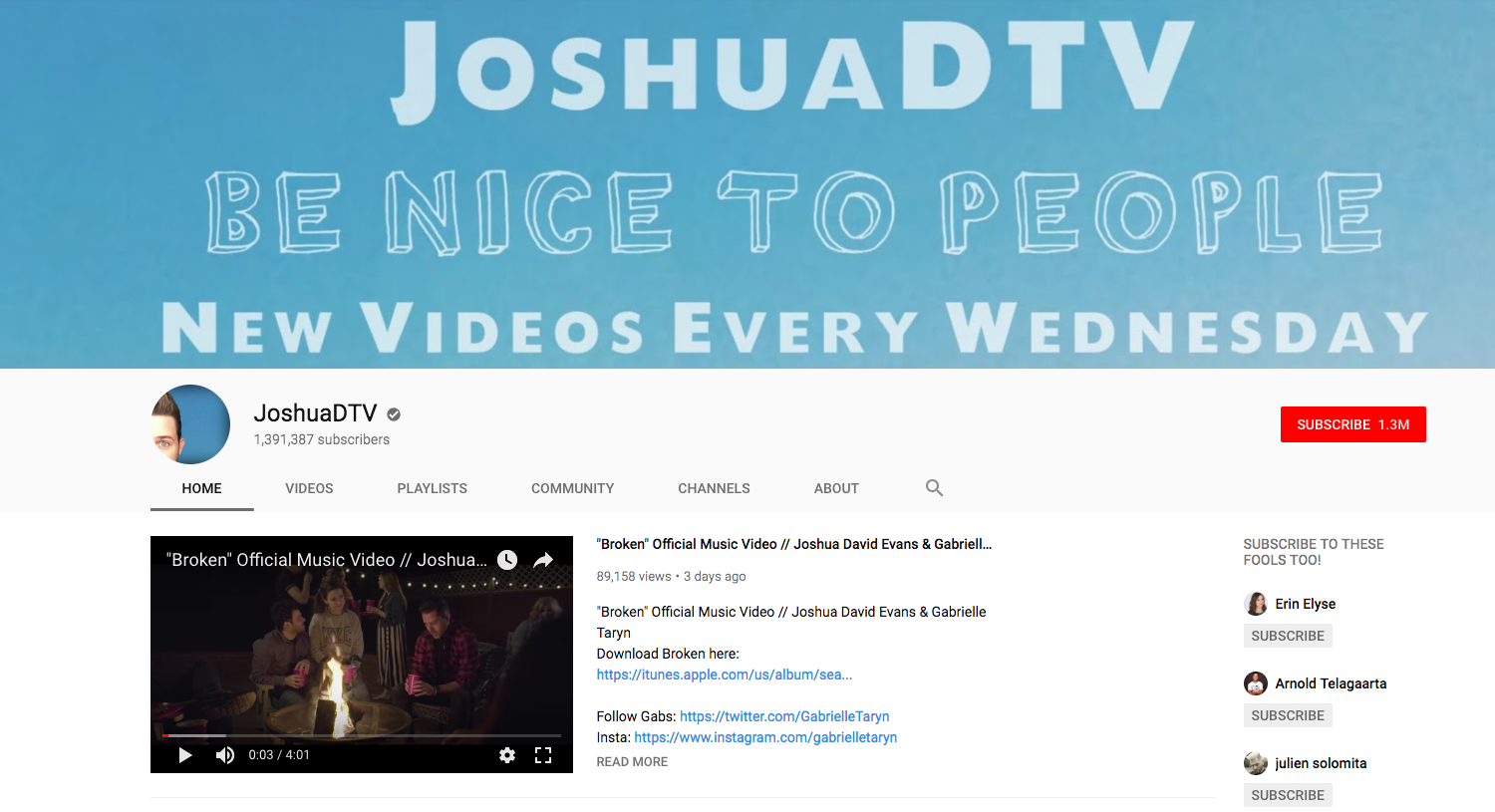 JoshuaDTV top daily youtube vloggers