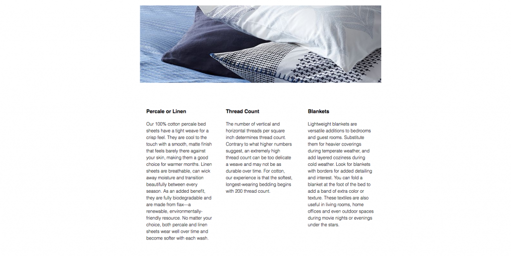 Crate And Barrel Ecommerce Writing Buyers Guide Example