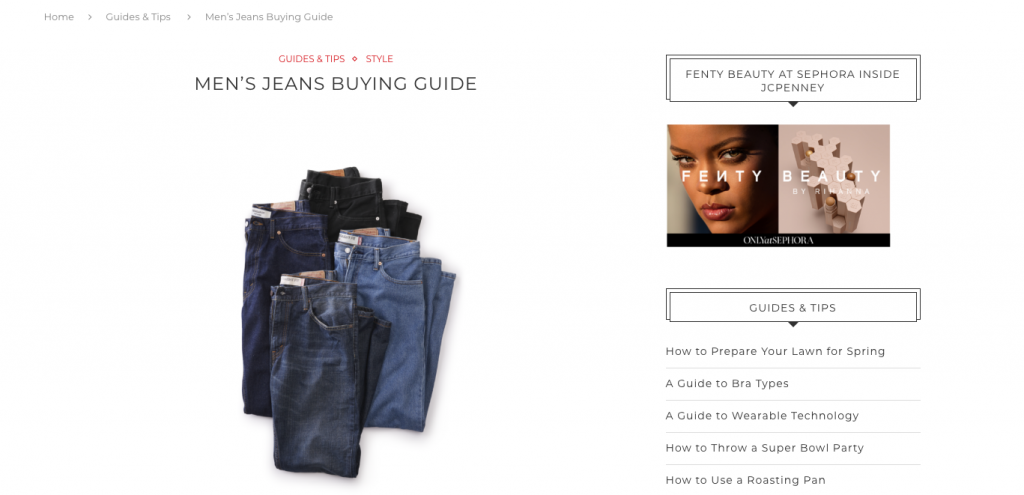 JCPenny Ecommerce Writing Buyers Guide