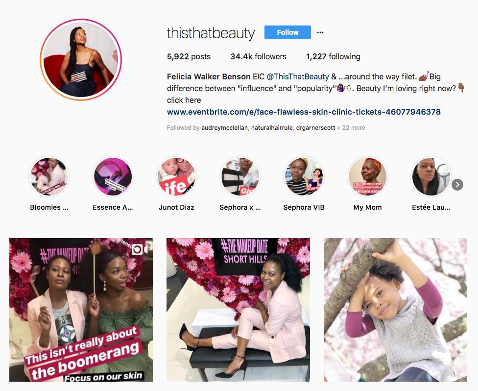 Felicia Walker Benson skincare influencers