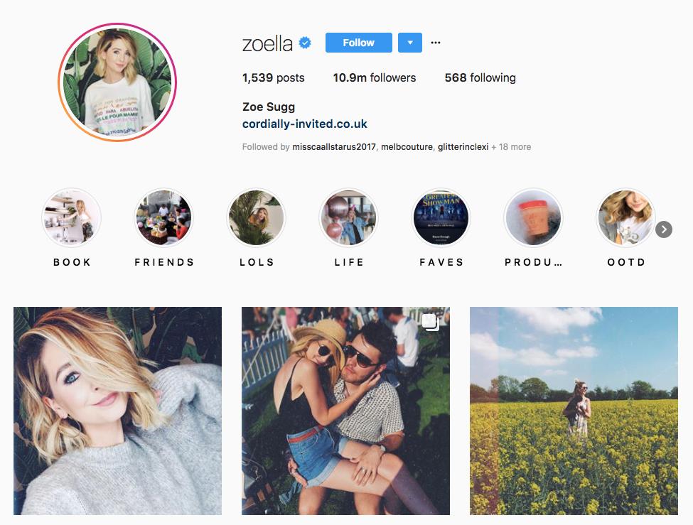 Zoe Sugg skincare influencers