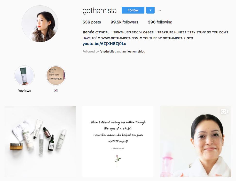 Ꮢenée Gothamista skincare influencer