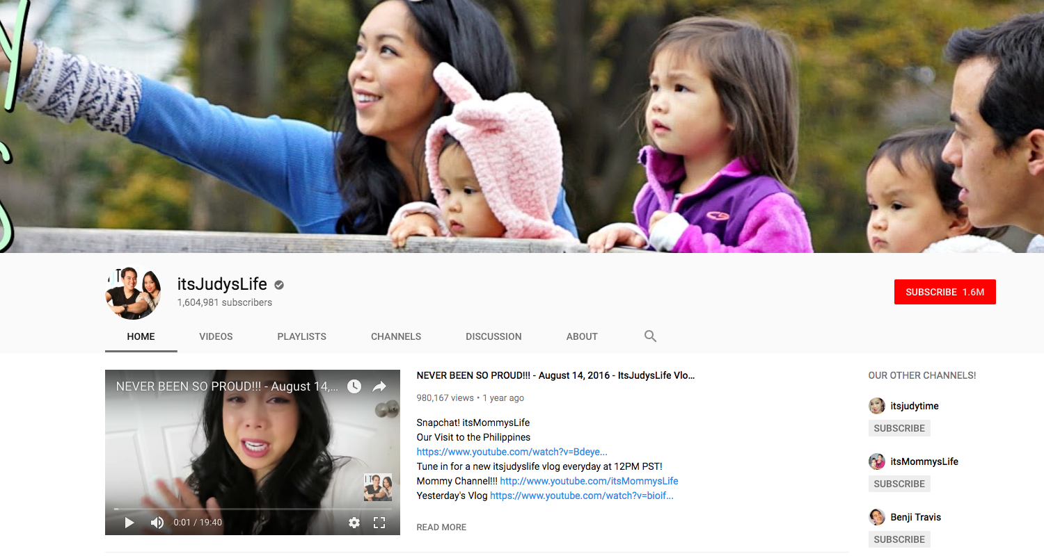 itsJudysLife top daily youtube vloggers