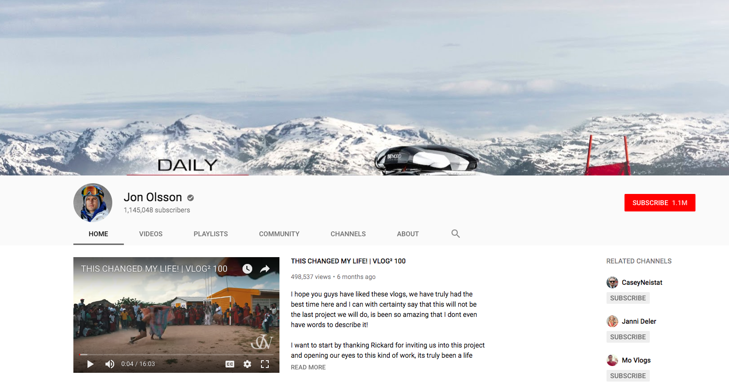 Jon Olsson top daily youtube vloggers