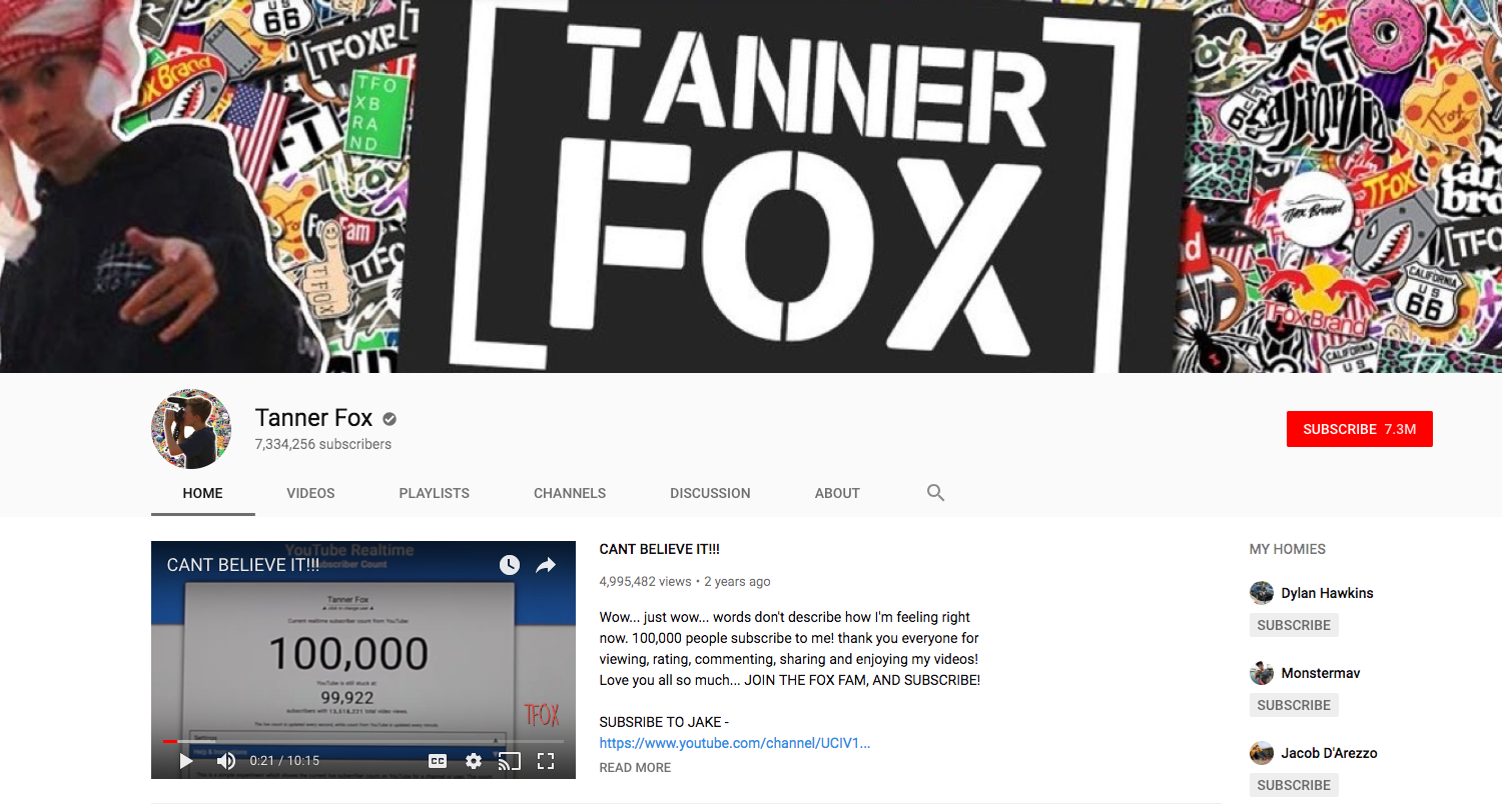 Tanner Fox top daily youtube vloggers