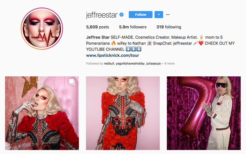 Jeffree Star Top Beauty Vloggers