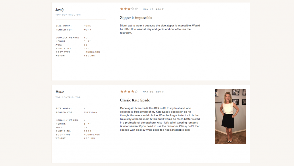 Rent The Runway Interactive Product Page example
