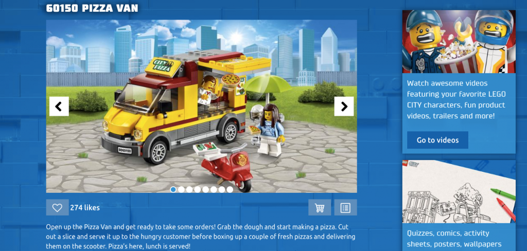 Lego Interactive Product Page Example