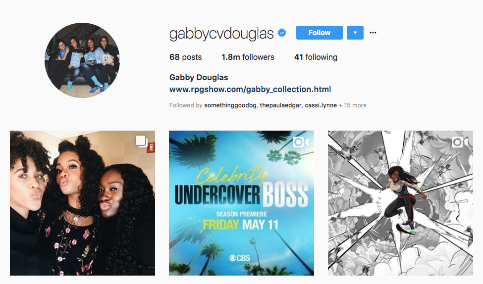 Gabby Douglas top sports influencers